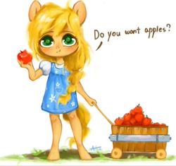 Size: 800x752 | Tagged: safe, artist:annie39367262, applejack, anthro, unguligrade anthro, apple, braid, cart, child, cute, dialogue, eating, female, food, jackabetes, looking at you, simple background, solo, wagon, white background, younger