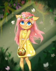 Size: 1585x2008 | Tagged: safe, artist:annie39367262, fluttershy, anthro, butterfly, basket, child, clothes, colored pupils, crepuscular rays, cute, dress, female, floral head wreath, flower, forest, shyabetes, smiling, solo, younger
