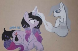 Size: 720x475 | Tagged: safe, artist:chewy-tartz, oc, oc:mystery, ghost, ghost pony, unicorn, alchemy, atg 2020, cloven hooves, colored pencil drawing, curved horn, glowing eyes, glowing horn, horn, necromancy, newbie artist training grounds, potion, traditional art