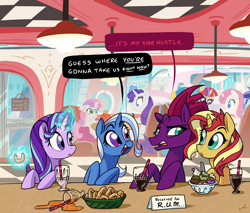 Size: 5400x4609 | Tagged: safe, artist:docwario, fizzlepop berrytwist, lemon hearts, minuette, moondancer, rarity, starlight glimmer, sunset shimmer, sweetie belle, tempest shadow, trixie, twinkleshine, pony, unicorn, cute, dialogue, diner, food, inconvenient trixie, reformed unicorn meeting, sad, sadorable, sweetie belle is not amused, teary eyes, unamused, wavy mouth