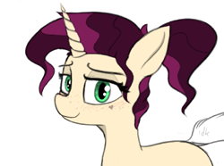 Size: 1189x886 | Tagged: safe, artist:pinkberry, oc, oc:mulberry merlot, unicorn, colored, colored sketch, dock, drawpile, female, freckles, heart, looking at you, sketch, solo, tattoo