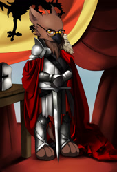 Size: 1500x2200 | Tagged: safe, artist:mlp-hugfactory, griffon, equestria at war mod, armor, cape, clothes, glasses, helmet, sword, table, weapon