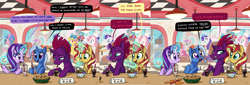 Size: 13572x4609 | Tagged: safe, artist:docwario, fizzlepop berrytwist, lemon hearts, minuette, moondancer, rarity, starlight glimmer, sunset shimmer, sweetie belle, tempest shadow, trixie, twinkleshine, pony, unicorn, absurd resolution, broken horn, comic, counterparts, cute, dialogue, diner, female, food, horn, ice cream, inconvenient trixie, mare, reformed unicorn meeting, sad, sadorable, sweetie belle is not amused, teary eyes, twilight's counterparts, unamused, wavy mouth