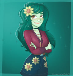 Size: 4000x4200 | Tagged: safe, artist:twily09, wallflower blush, equestria girls, equestria girls series, clothes, crossed arms, cute, digital art, female, flower, flower in hair, freckles, green background, simple background, smiling, solo