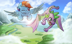 Size: 1024x626 | Tagged: safe, rainbow dash, spike, dragon, pegasus, pony, annoyed, cloud, female, flying, forest, grassland, male, mare, mountain, practice, river, scenery, sky, teaching, training, tutoring, water, winged spike, wings