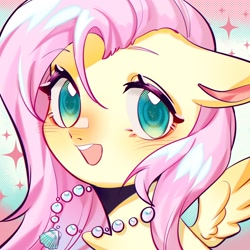 Size: 1754x1754   Tagged: safe, artist:royal, part of a set, fluttershy, pony, blushing, bust, cute, jewelry, necklace, portrait, shyabetes, solo, summer
