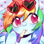 Size: 1754x1754 | Tagged: safe, artist:royal, part of a set, rainbow dash, pony, :t, blushing, bust, colored pupils, cute, dashabetes, ear down, female, food, mare, mouth hold, popsicle, portrait, solo, summer, sunglasses