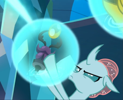 Size: 691x561 | Tagged: safe, screencap, ocellus, changedling, changeling, school raze, cropped, determined, holding, magic, solo, talisman of mirage
