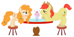 Size: 2671x1356 | Tagged: safe, artist:three uncle, edit, bright mac, pear butter, earth pony, pony, hearts and hooves day (episode), the perfect pear, blushing, brightbutter, cowboy hat, eye contact, female, hat, hearts and hooves day, husband and wife, looking at each other, male, mare, milkshake, shipping, simple background, stallion, straight, table, transparent background