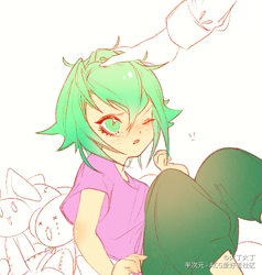 Size: 741x779 | Tagged: safe, artist:火丁火丁, spike, human, head pat, humanized, offscreen character, pat, solo