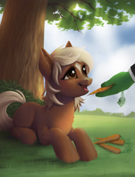 Size: 2882x3767   Tagged: safe, artist:taytinabelle, oc, oc:anon, earth pony, pony, blank flank, bush, carrot, cute, daaaaaaaaaaaw, ear fluff, female, filly, food, grass, happy, hnnng, laying on stomach, looking up, lying down, ponified, smiling, solo focus, tree, verity