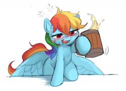 Size: 1560x1127 | Tagged: safe, artist:luciferamon, rainbow dash, pegasus, pony, alcohol, blushing, cider, cider dash, cute, dashabetes, drool, drunk, drunker dash, female, mare, solo, that pony sure does love cider