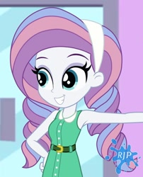 Size: 850x1050 | Tagged: safe, artist:rjp.rammy, potion nova, equestria girls, my little pony: pony life, alternate hairstyle, armpits, belt, clothes, dress, equestria girls-ified, eyeshadow, female, g4.5 to equestria girls, grin, hairband, makeup, sleeveless, smiling, solo
