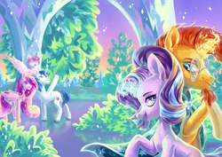 Size: 4961x3508 | Tagged: safe, artist:shininglovelystar, princess cadance, princess flurry heart, shining armor, starlight glimmer, sunburst, alicorn, pony, unicorn, baby, baby pony, crystal empire, crystal palace, female, magic, magic aura, male, mare, shipping, stallion, starburst, straight