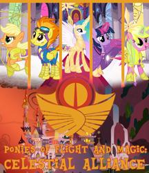 Size: 1024x1185   Tagged: safe, artist:alphamonouryuuken, artist:emkay-mlp, artist:mysterymelt, artist:osipush, edit, applejack, princess celestia, spitfire, sunshine smiles, twilight sparkle, alicorn, earth pony, pegasus, unicorn, alternate timeline, cloak, clothes, cover art, emblem, fanfic, fanfic art, vector