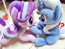 Size: 1024x768 | Tagged: safe, artist:nekokevin, starlight glimmer, trixie, pony, unicorn, series:nekokevin's glimmy, duo, exclamation point, female, heart, interrobang, irl, looking at each other, mare, open mouth, photo, plushie, question mark, raised hoof, smiling