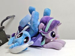 Size: 1024x768 | Tagged: safe, artist:nekokevin, starlight glimmer, trixie, pony, unicorn, series:nekokevin's glimmy, duo, female, irl, lying down, mare, open mouth, photo, plushie, smiling, upside down