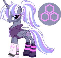 Size: 1280x1221 | Tagged: safe, artist:limedazzle, oc, oc:aurora lilac, alicorn, pony, clothes, female, hoodie, mare, simple background, solo, transparent background