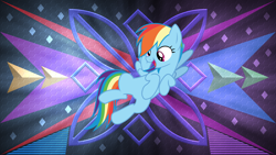 Size: 3840x2160 | Tagged: safe, artist:frownfactory, artist:laszlvfx, edit, rainbow dash, pony, solo, wallpaper, wallpaper edit