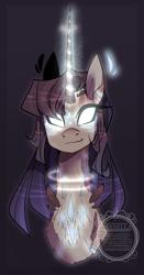 Size: 807x1545 | Tagged: safe, artist:manella-art, oc, oc only, pony, unicorn, bust, female, glowing eyes, mare, portrait, solo