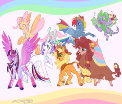 Size: 1280x1088 | Tagged: safe, artist:creeate97, applejack, fluttershy, pinkie pie, rainbow dash, rarity, spike, twilight sparkle, alicorn, bat pony, changedling, changeling, deer, dragon, kirin, pony, reindeer, yak, applekirin, bat ponified, changedlingified, cloven hooves, colored hooves, colored wings, cowboy hat, female, flutterling, flying, hat, kirin-ified, leonine tail, male, mane seven, mane six, mare, multicolored wings, pinkie yak, race swap, rainbow wings, rainbowbat, rarideer, reindeerified, scroll, species swap, twilight sparkle (alicorn), unshorn fetlocks, winged spike, wings, yakified