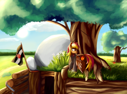 Size: 2100x1560 | Tagged: safe, oc, oc only, oc:litefire, equestria at war mod, clothes, flag, longsword, scenery, stone, tree, trench, uniform, weapon