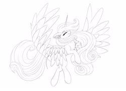 Size: 2048x1489 | Tagged: safe, artist:pearl123_art, princess cadance, alicorn, pony, chest fluff, ear fluff, eyes closed, female, lineart, mare, monochrome, rearing, simple background, solo, white background