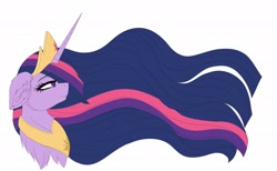Size: 2048x1260 | Tagged: safe, artist:pearl123_art, twilight sparkle, alicorn, pony, the last problem, bust, chest fluff, colored, crown, ear fluff, female, flat colors, jewelry, mare, peytral, princess twilight 2.0, regalia, simple background, solo, tiara, twilight sparkle (alicorn), white background