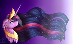 Size: 2048x1260 | Tagged: safe, artist:pearl123_art, twilight sparkle, alicorn, pony, the last problem, bust, chest fluff, crown, crying, ear fluff, ethereal mane, female, gradient background, jewelry, mare, peytral, princess twilight 2.0, regalia, solo, starry mane, tiara, twilight sparkle (alicorn)