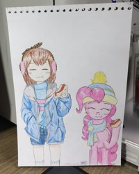 Size: 1080x1350 | Tagged: safe, artist:poorunii, pinkie pie, blushing, clothes, eating, eyes closed, food, frisk, hat, hot dog, meat, sausage, scarf, traditional art, undertale