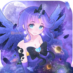 Size: 1250x1250 | Tagged: safe, artist:bekechu, princess luna, alicorn, human, alternative cutie mark placement, bare shoulders, bow, clothes, colored pupils, crown, cute, cutie mark on human, dress, ear piercing, earring, ethereal mane, feather, female, galaxy, galaxy mane, horn, horned humanization, humanized, jewelry, looking at you, lunabetes, mare in the moon, moon, night, piercing, planet, regalia, saturn, sky, solo, starry mane, stars, strapless, winged humanization, wings