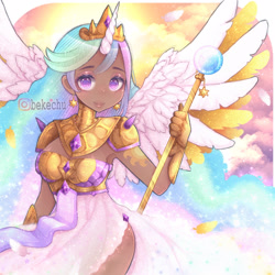 Size: 1250x1250 | Tagged: safe, artist:bekechu, princess celestia, alicorn, human, alternative cutie mark placement, armor, clothes, cloud, colored pupils, cute, cutelestia, cutie mark on human, dark skin, dress, ear piercing, earring, feather, female, gauntlet, horn, horned humanization, humanized, jewelry, looking at you, piercing, scepter, side slit, solo, strapless, sun, winged humanization, wings