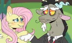 Size: 1110x667 | Tagged: safe, artist:no-name-blog-scree, artist:no-name-blogg, artist:noodlezss, discord, fluttershy, draconequus, pegasus, pony, keep calm and flutter on, blushing, cheek fluff, chest fluff, clothes, colored hooves, duo, ear fluff, facial hair, female, floppy ears, holding, looking at each other, mare, moustache, necktie, scene interpretation, smiling, spread wings, tuxedo, wings