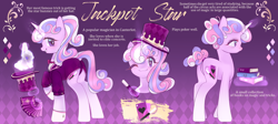 Size: 2688x1200 | Tagged: safe, artist:missmay, oc, oc only, oc:jackpot star, pony, rabbit, unicorn, animal, book, bowtie, butt, card, clothes, female, gloves, glowing horn, hat, horn, levitation, magic, magic wand, magician outfit, mare, markings, multicolored hair, one eye closed, playing card, plot, raised hoof, reference sheet, shirt, solo, stars, suit, telekinesis, top hat, tuxedo, wink