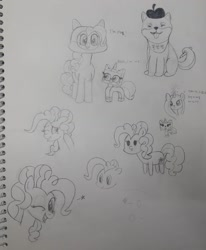 Size: 1080x1313 | Tagged: safe, artist:poorunii, pinkie pie, dog, beret, hat, korean, pencil, pencil drawing, the lego movie, traditional art, unikitty