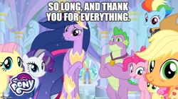 Size: 888x499 | Tagged: safe, edit, edited screencap, screencap, applejack, fluttershy, pinkie pie, rainbow dash, rarity, spike, twilight sparkle, alicorn, dragon, earth pony, pegasus, pony, unicorn, the last problem, caption, ending, farewell, goodbye, image macro, mane seven, mane six, older, older applejack, older fluttershy, older mane seven, older mane six, older pinkie pie, older rainbow dash, older rarity, older spike, older twilight, text, twilight sparkle (alicorn), winged spike