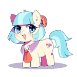 Size: 1600x1600   Tagged: safe, artist:stuwor-art, coco pommel, earth pony, pony, chibi, cocobetes, cute, cutie mark, open mouth, solo, weapons-grade cute