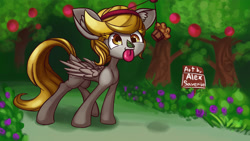 Size: 3840x2160 | Tagged: safe, artist:alexsavenije, derpy hooves, pegasus, apple, ear fluff, flower, food, muffin, tongue out, tree