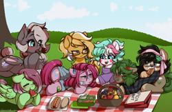 Size: 1764x1153 | Tagged: safe, artist:cottonsweets, artist:lux-arume, pinkie pie, oc, oc:ame, oc:cottonsweets, oc:efflorescence, oc:finny, oc:mareota, oc:watermelon success, bat pony, earth pony, original species, pegasus, pony, unicorn, wolf, wolf pony, female, mare, pinkamena diane pie