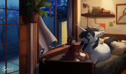 Size: 1800x1064 | Tagged: safe, artist:silentwulv, oc, oc only, pony, unicorn, bed, bedroom, plant, window