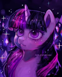 Size: 1000x1250 | Tagged: safe, artist:riukime, twilight sparkle, pony, unicorn, bust, crystal, digital art, female, gem, gem cave, mare, portrait, solo, sparkles, unicorn twilight