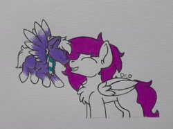 Size: 2471x1843 | Tagged: safe, artist:drheartdoodles, oc, oc only, oc:dr.heart, oc:infinatus, clydesdale, pegasus, boop, chest fluff, clothes, scarf, size difference, smiling, traditional art