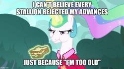 Size: 888x499 | Tagged: safe, edit, edited screencap, screencap, princess celestia, alicorn, pony, between dark and dawn, alternate hairstyle, angry, caption, celestia is not amused, clothes, cute, female, food, hawaiian shirt, image macro, imgflip, madorable, magic, mare, sandwich, shirt, solo, text, unamused