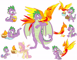 Size: 6900x5415 | Tagged: safe, artist:chub-wub, fluttershy, peewee, spike, dragon, pegasus, phoenix, pony, molt down, absurd resolution, basket, book, cute, duo focus, egg, female, male, mare, molting, older, older spike, open mouth, peeweebetes, phoenix egg, pictogram, prone, reading, shyabetes, simple background, speech bubble, spikabetes, sweat, sweatdrop, what could have been, white background, winged spike