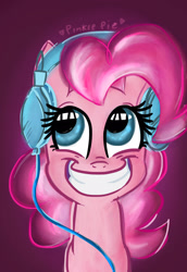 Size: 1000x1450 | Tagged: safe, artist:lianzapa, pinkie pie, earth pony, pony, bust, female, grin, headphones, looking up, mare, portrait, smiling, solo, wide grin