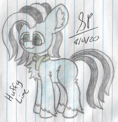 Size: 1844x1916 | Tagged: safe, artist:mlplayer dudez, oc, oc only, earth pony, pony, :3, chest fluff, clothes, colored, cute, ear fluff, fluffy, glasses, happy, leg fluff, scarf, signature, smiling, solo, standing, traditional art