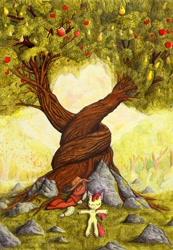 Size: 1024x1477 | Tagged: safe, artist:konsumo, apple bloom, applejack, earth pony, pony, adorabloom, apple, apple tree, applejack's hat, cowboy hat, cute, detailed, food, hat, intertwined trees, jackabetes, pear, pear tree, rock, sweet apple acres, traditional art, tree