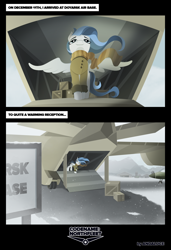 Size: 2000x2927 | Tagged: safe, artist:andaluce, oc, oc:haze northfleet, pegasus, clothes, coat, comic, plane, scarf, snow, solo, spread wings, wings