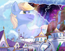 Size: 2500x1949 | Tagged: safe, artist:tsitra360, oc, oc only, oc:pan sizzle, oc:ribbon step, oc:snap feather, oc:star bright, pony, airship, building, canterlot, castle, cloudsdale, cosmic wizard, crepuscular rays, giant pony, giant unicorn, giga giant, impending disaster, macro, magic, male, reality, smiling, space, stallion, tree, waterfall, wizard