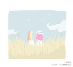 Size: 1090x1000 | Tagged: safe, artist:亚凛酸, pinkie pie, rainbow dash, bird, human, clothes, duo, female, flower, flower in hair, hat, holding hands, humanized, lesbian, minimalist, modern art, outdoors, pinkiedash, shipping, sky